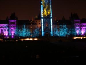 Ottawa's Parliament Buildings as a movie screen.