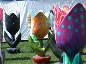 Tulip sculptures in downtown Ottawa Tulip Festival