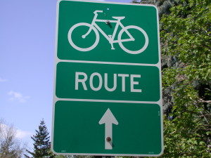 Bicycle route sign when bicycling in ottawa