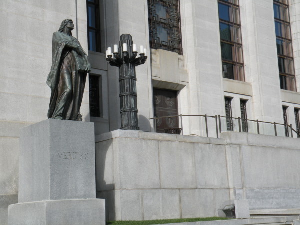 VERITAS - truth statue in front of Supreme Court of Canada building downtown Ottawa