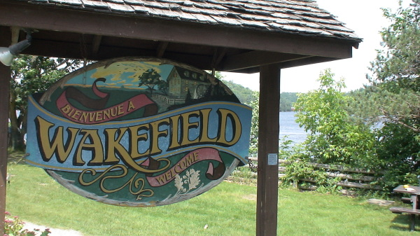 Welcome sign in Wakefield Quebec
